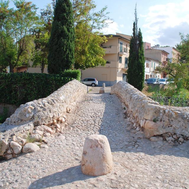 """Roman bridge at Pollenca"" stock image"