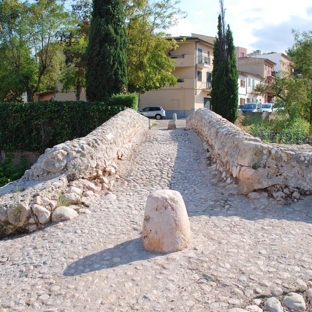 """The Roman Bridge, Pollensa"" stock image"