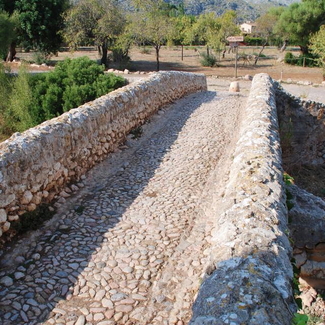 """The Roman bridge in Pollenca"" stock image"