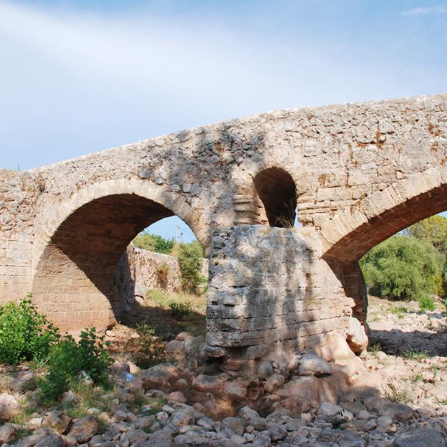 """Roman bridge at Pollenca, Majorca"" stock image"