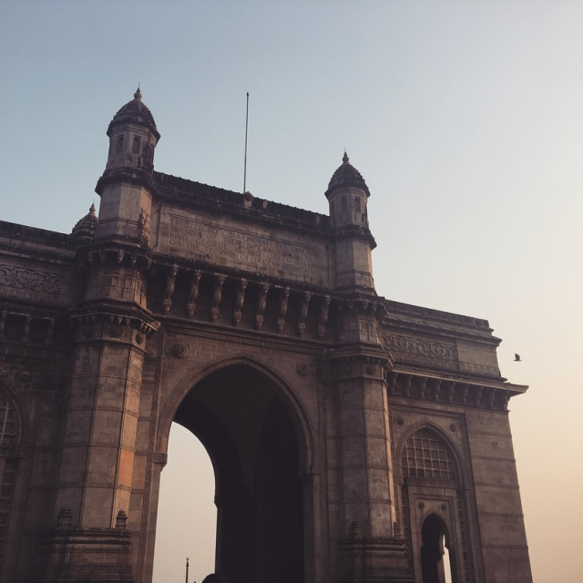 """Sundown at Gateway of India, Mumbai"" stock image"