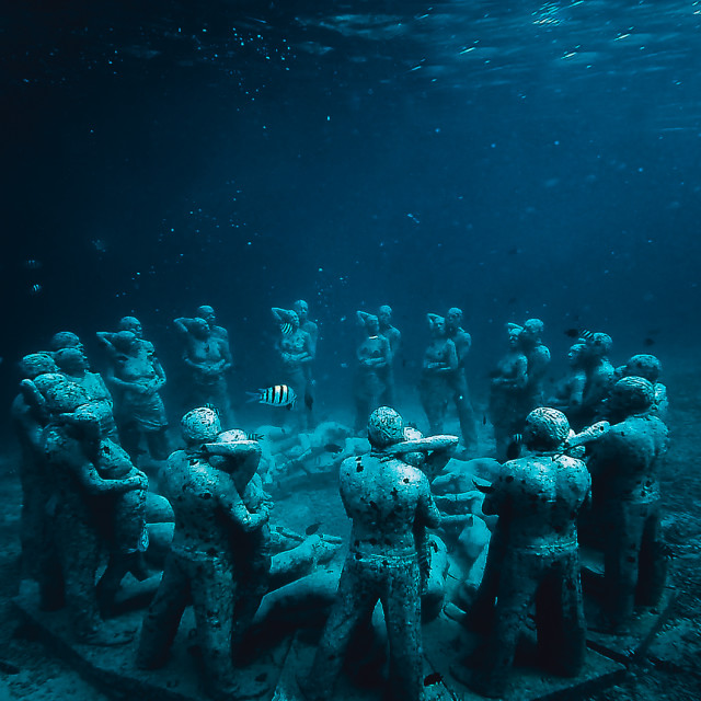"""Underwater statues"" stock image"