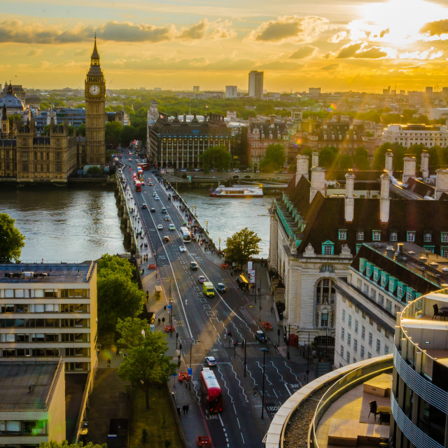 """""""Sunset in Westminster"""" stock image"""