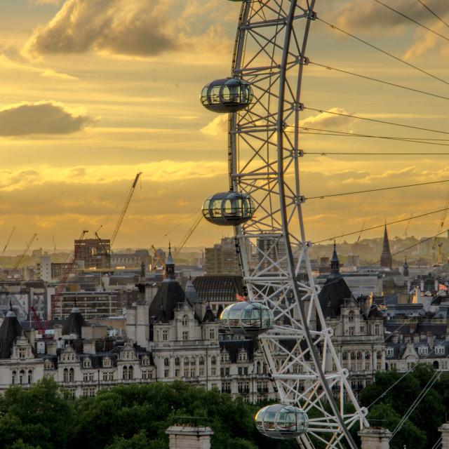 """""""London Eye at sunset"""" stock image"""