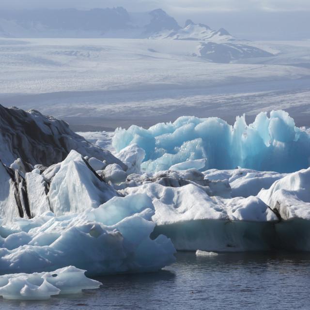 """Blue ice in Jokulsarlon Glacier Lagoon"" stock image"