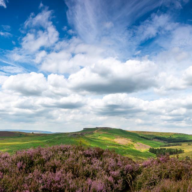 """Summer Days Pano - Higger Tor and Carl Walk, Peak District, UK"" stock image"