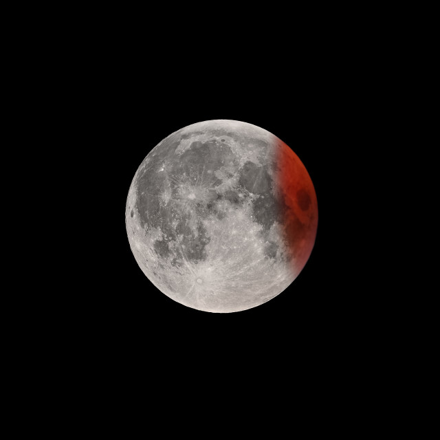 """""""Ending of Super Bloody Moon full eclipse"""" stock image"""