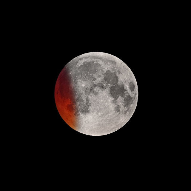 """""""Initial phase of Super Bloody Moon full eclipse"""" stock image"""