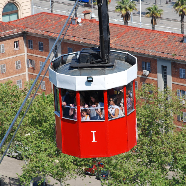 """""""Cable car to Montjuic, Barcelona"""" stock image"""