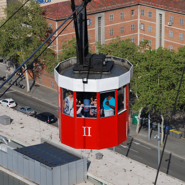"""""""Vintage cable car, Barcelona"""" stock image"""