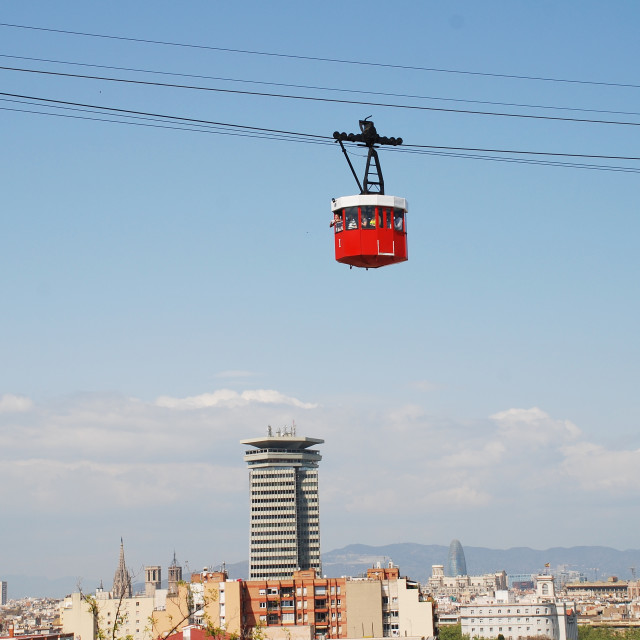 """""""Cable car above the port, Barcelona"""" stock image"""