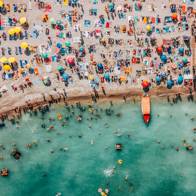 """Aerial Drone View Of People Having Fun And Relaxing On Costinesti Beach In Romania At The Black Sea"" stock image"