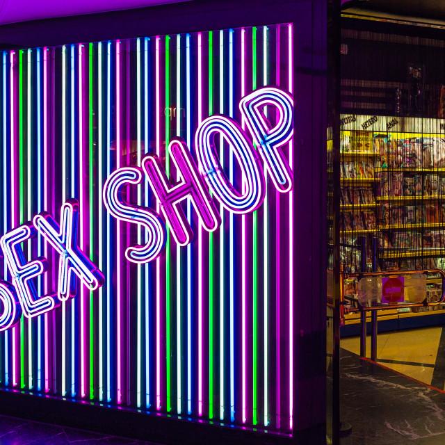 """Sex shop exterior, Madrid, Spain"" stock image"