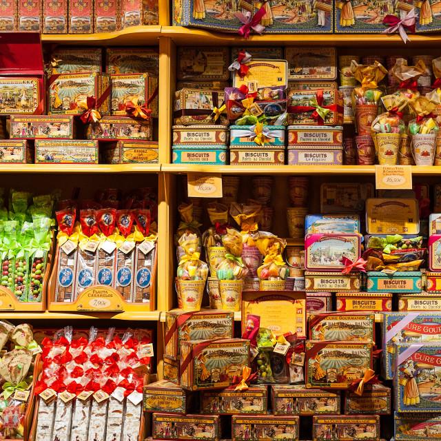 """La Cure Gourmande candy store detail, Toledo, Spain"" stock image"