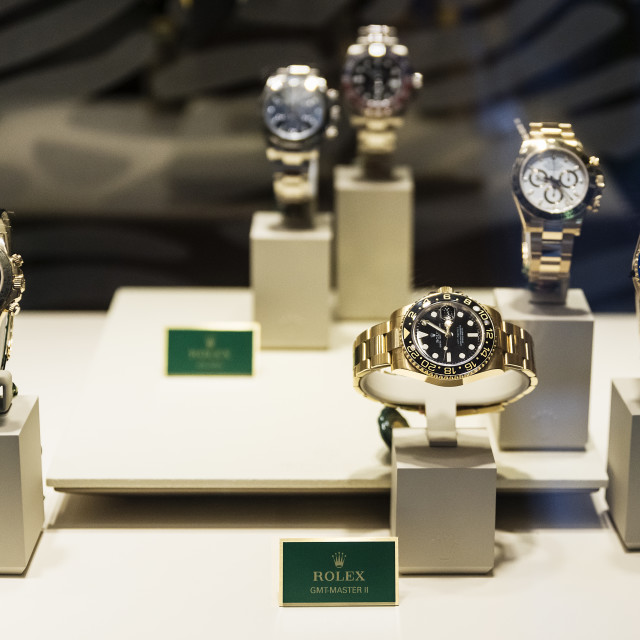 """Rolex retail store display"" stock image"
