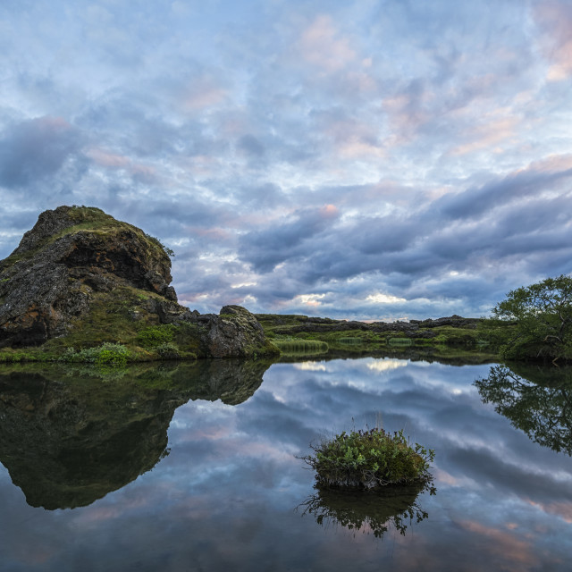 """""""Sunset over the old lava and small pond near Lake Myvatn, North Iceland; Iceland"""" stock image"""
