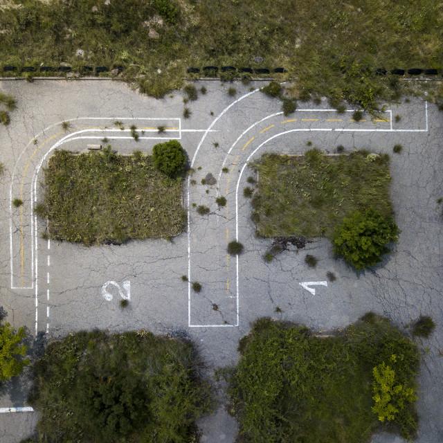 """abandoned parking lot"" stock image"
