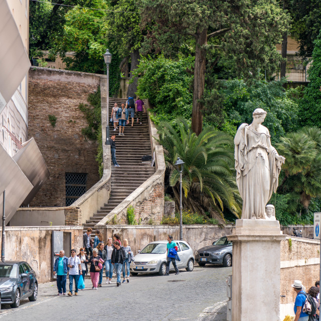 """Tourist coming down steps of Garden in Rome"" stock image"
