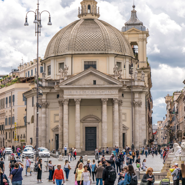 """One of two twin churches at Piazza del Popolo"" stock image"