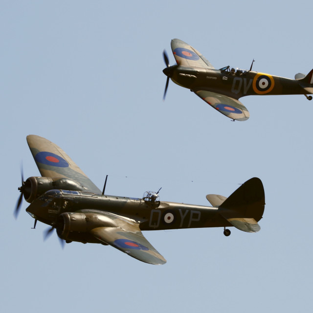 """""""Blenheim and Spitfire in formation"""" stock image"""