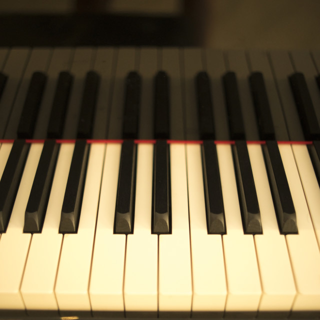 """Grand piano keyboard keys"" stock image"