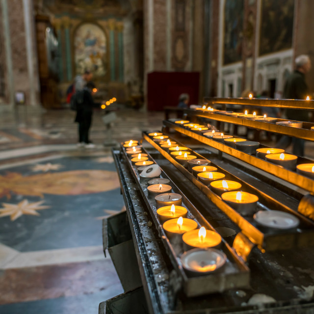 """Candles in Catholic church in Rome"" stock image"