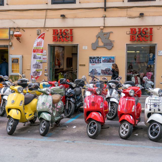"""Plenty of scooters in Rome"" stock image"