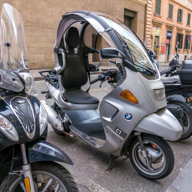 """BMW bike with canopy"" stock image"