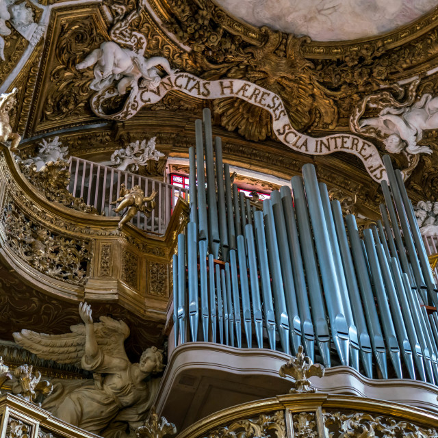 """Ceiling fresco and pipe organ in Catholic church in Rome"" stock image"