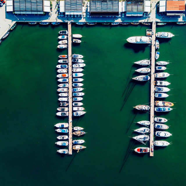"""Aerial View Of Luxury Yachts And Boats In Port At The Black Sea"" stock image"