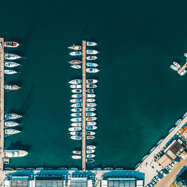 """""""Aerial View Of Luxury Yachts And Boats In Port At The Black Sea"""" stock image"""