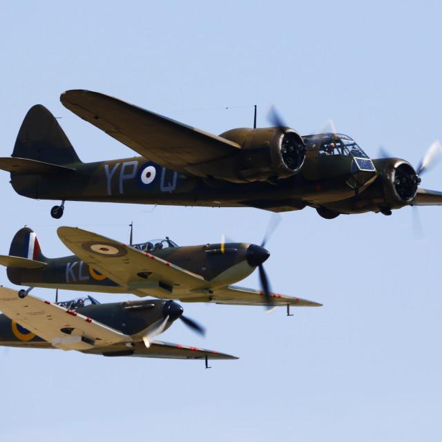 """Bristol Blenheim escorted by two Spitfires"" stock image"