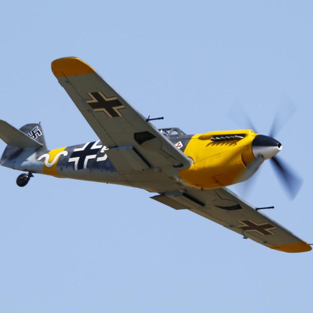 """Hispano Buchon in flight"" stock image"