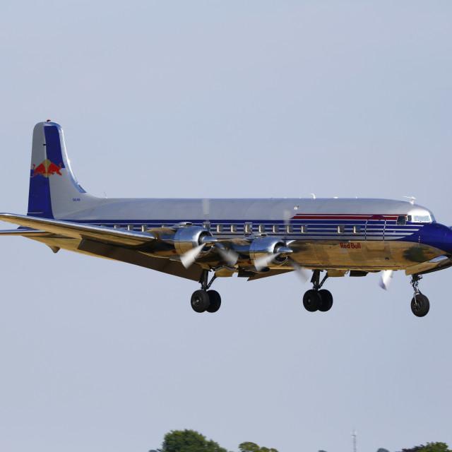 """""""Douglas DC6b landing"""" stock image"""