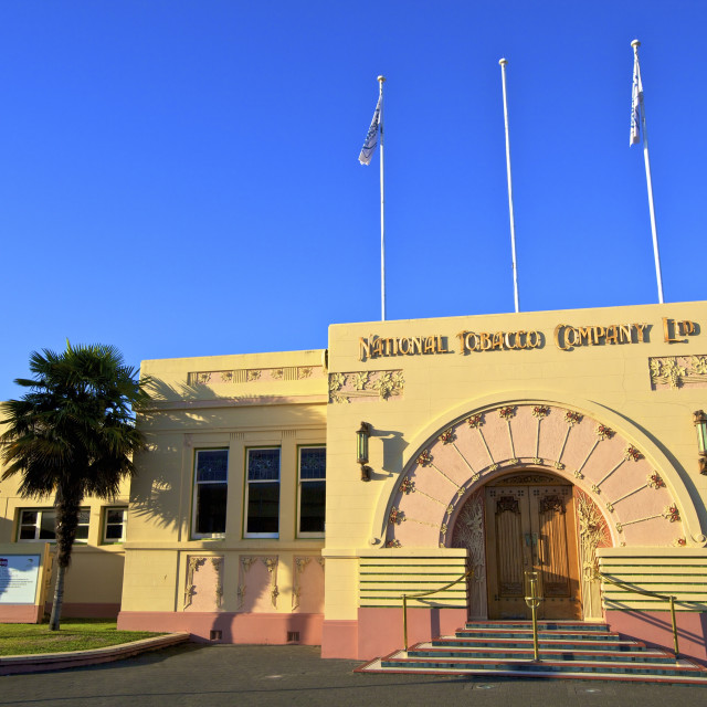 """Art Deco National Tobacco Company Building, Ahuriri, Napier, Hawkes Bay, New..."" stock image"
