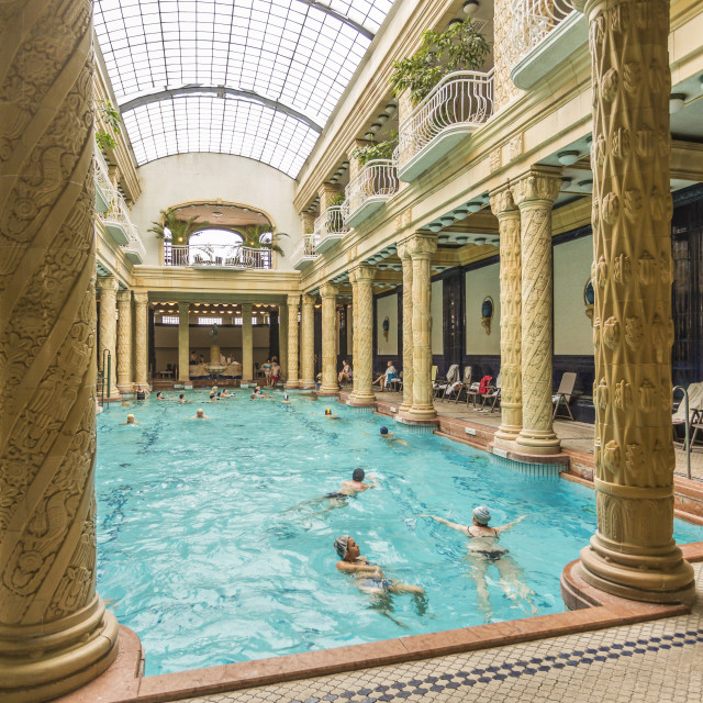"""People bathing in Gellért Thermal Baths, Budapest, Hungary, Europe"" stock image"