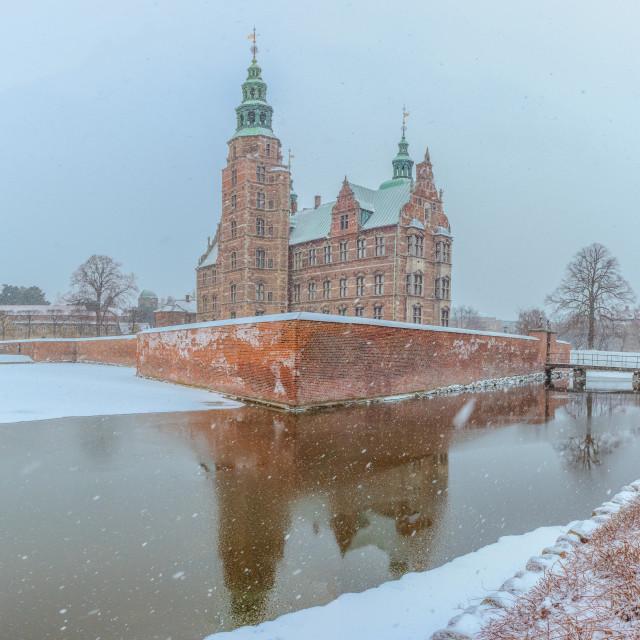 """""""20180302 - pkp - Copenhagen - Rosenborg Slot in the snow"""" stock image"""