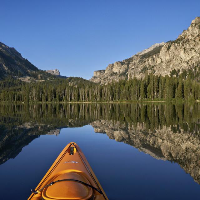"""Pettit Lake while kayaking, Sawtooth National Recreation Area, Idaho, USA"" stock image"