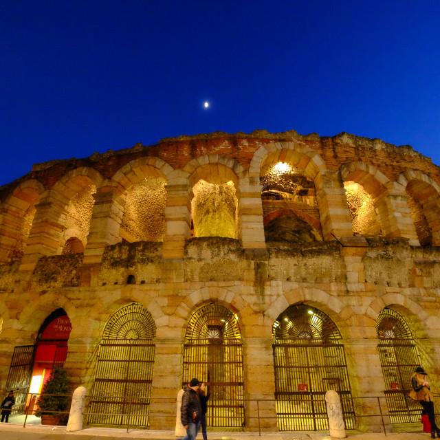 """Verona Arena, Roman amphitheatre, in Piazza Bra in Verona, Italy, Europe"" stock image"