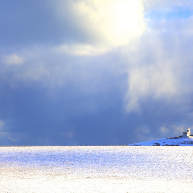 """""""The Belle Tout Lighthouse Surrounded By Snow, Beachy Head, South Downs, East..."""" stock image"""