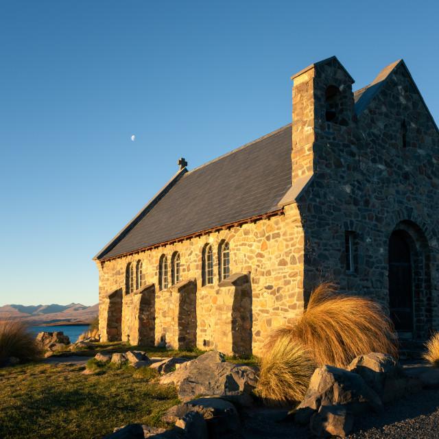 """Church of the Good Shepherd at sunset, Lake Tekapo, Mackenzie Distrtict,..."" stock image"