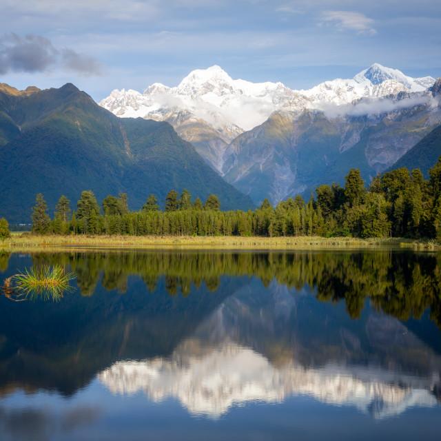 """Mount Tasman and Aoraki (Mount Cook) reflected in Lake Matheson, South..."" stock image"