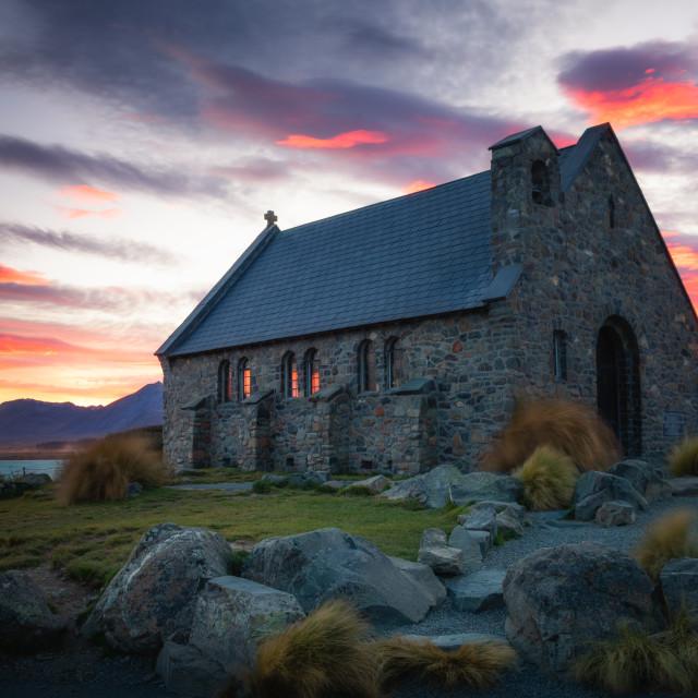 """Church of the Good Shepherd at sunrise, Lake Tekapo, Mackenzie Distrtict,..."" stock image"