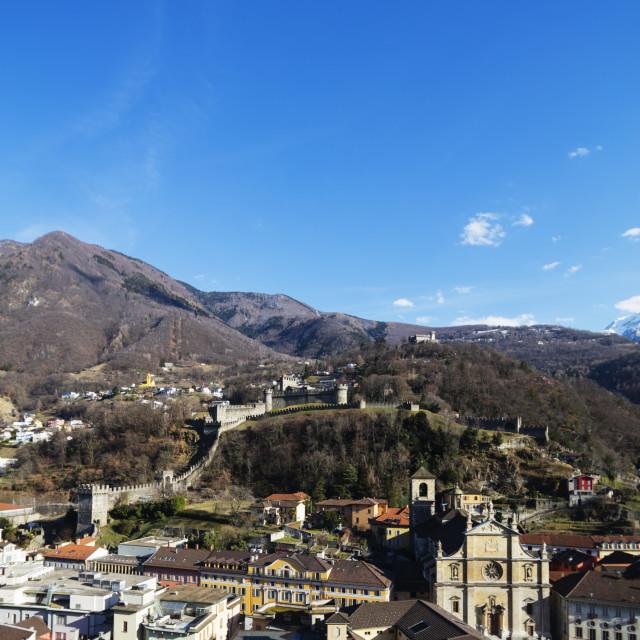 """Europe, Switzerland, Ticino, Bellinzona, Unesco site, Castelgrande and La..."" stock image"