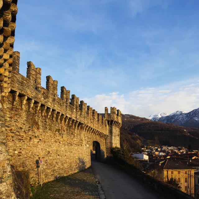 """Europe, Switzerland, Ticino, Bellinzona, Unesco site, Castelgrande"" stock image"