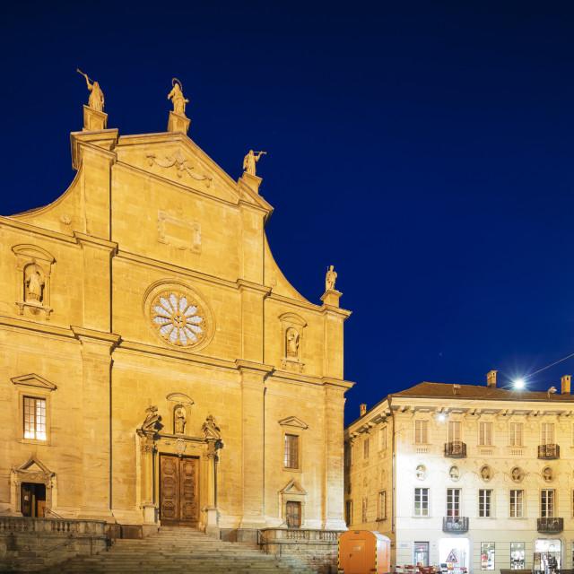 """Europe, Switzerland, Ticino, Bellinzona, Unesco site, La Collegiata church of..."" stock image"