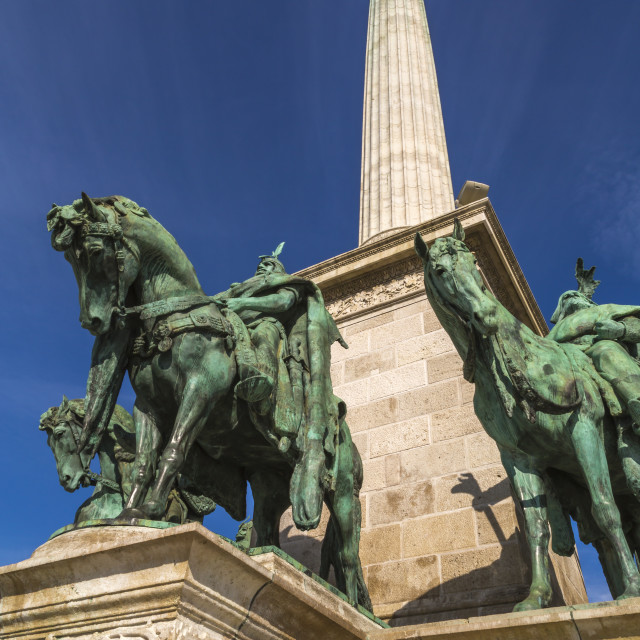 """View of Millenium Memorial and the horseman Memorial from Prince Arpad,..."" stock image"