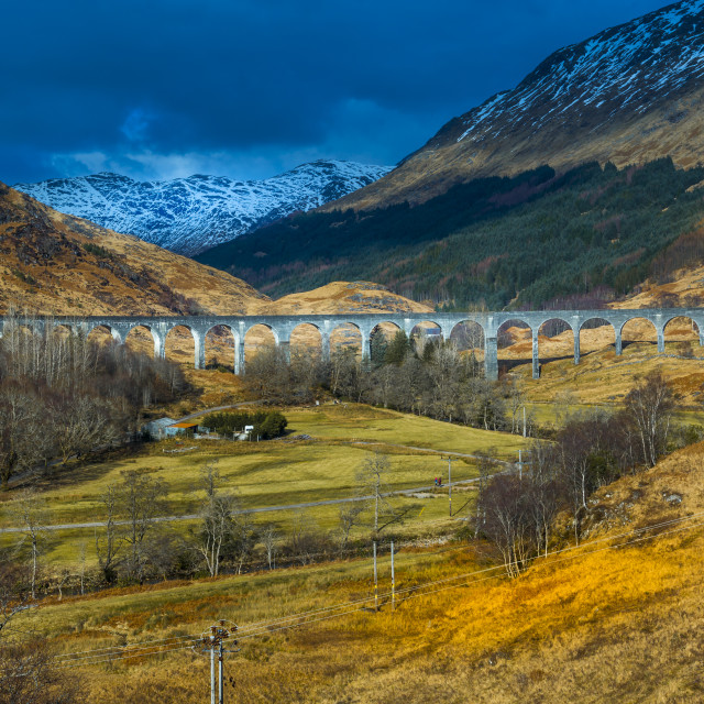"""View of The Glenfinnan Viaduct Railway Viaduct on the West Highland Line in..."" stock image"