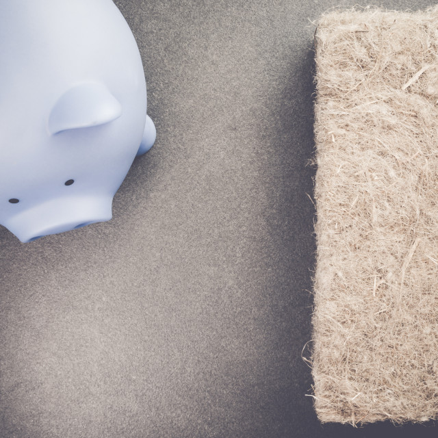 """piggy bank and wall insulation materials - money saving concept"" stock image"