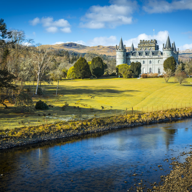 """View of Inveraray Castle and River Aray, Argyll and Bute, Scotland, United..."" stock image"